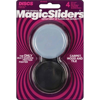 Magic Sliders 2-3/8 In. Concave Round Furniture Glide,(4-Pack)