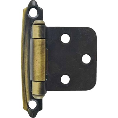 Amerock Antique Brass Self-Closing Face Mount Variable Overlay Hinge (2-Pack)