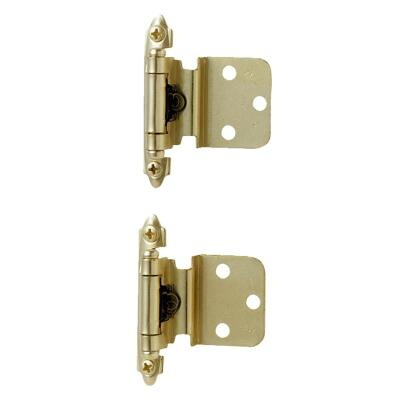 Amerock Polished Brass 3/8 In. Self-Closing Inset Hinge, (2-Pack)
