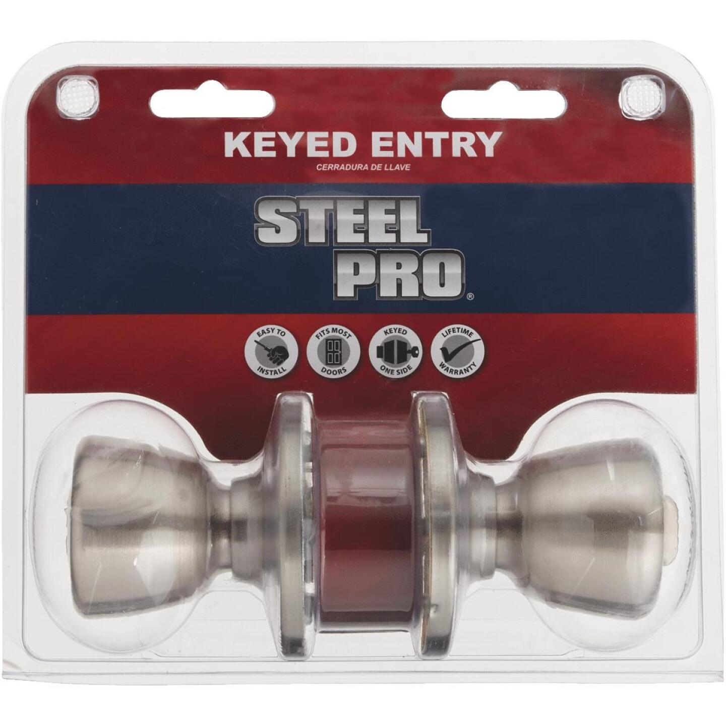 Steel Pro Brushed Nickel Entry Door Knob  Image 3