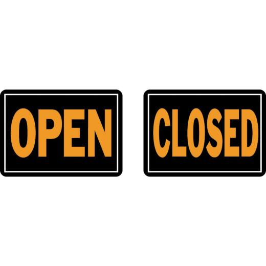 Hy-Ko Aluminum Reversible Sign, Open/Closed