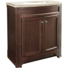 Continental Cabinets Duvall Cafe Black Glaze 30-3/4 In. W x 34-3/4 In. H x 18-1/2 In. D Vanity with Tan/Wht Cultured Marble Top Image 1