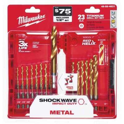 Milwaukee Shockwave 23-Piece Impact Duty Titanium Hex Shank Drill Bit Set, 1/16 In. thru 1/2 In.