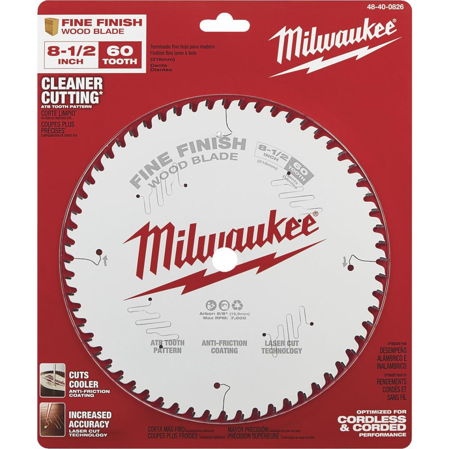 Milwaukee 8-1/2 In. 60-Tooth Fine Finish Circular Saw Blade Image 2