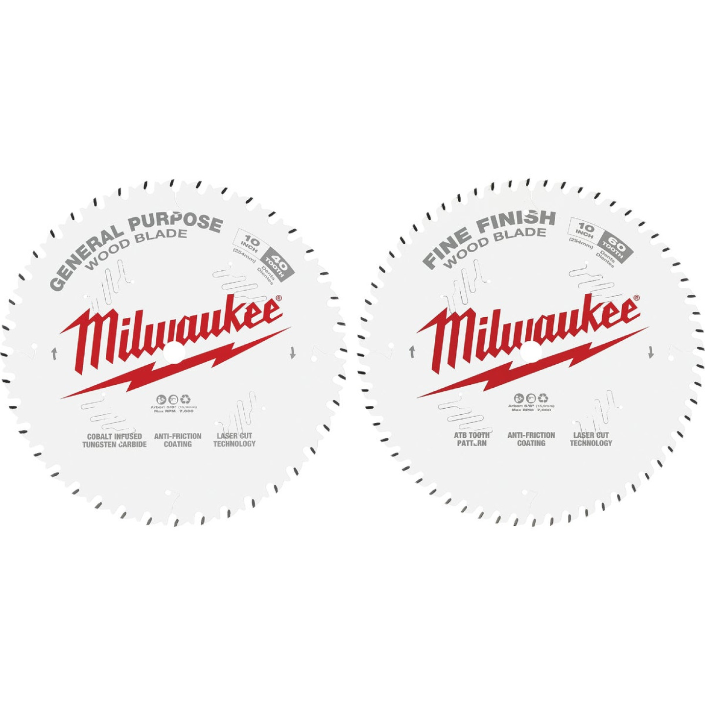 Milwaukee 10 In. 40-Tooth General Purpose & 60-Tooth Fine Finish Wood Circular Saw Blade (2-Pack) Image 1