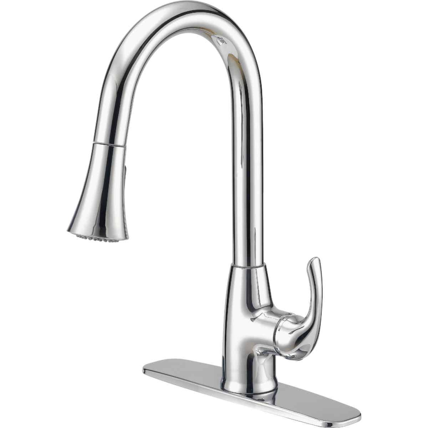 Home Impressions Single Handle Lever Pull-Down Kitchen Faucet with Spray, Chrome Image 1