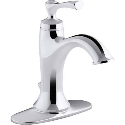 Kohler Elliston Chrome 1-Handle Lever 4 In. Centerset Bathroom Faucet with Pop-Up