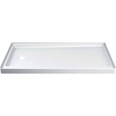 Delta Hycroft 60 In. W x 30 In. D Left Drain Shower Floor & Base in White