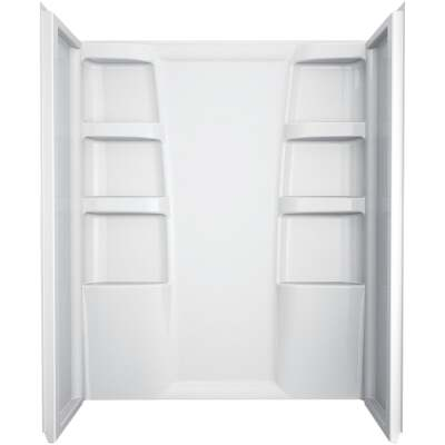 Delta Hycroft 3-Piece 60 In. L x 30 In. D Shower Wall Set in White