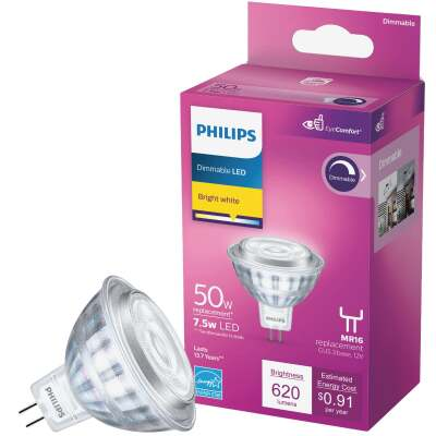 Philips Classic Glass 50W Equivalent Bright White MR16 GU5.3 LED Floodlight Light Bulb