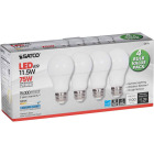 Satco 75W Equivalent Natural Light A19 Medium LED Light Bulb (4-Pack) Image 4