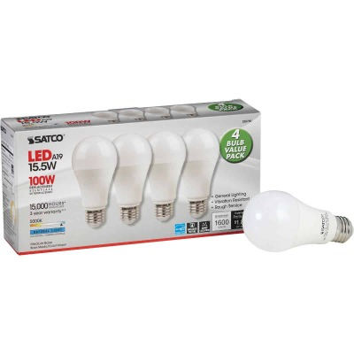 Satco 100W Equivalent Natural Light A19 Medium LED Light Bulb (4-Pack)