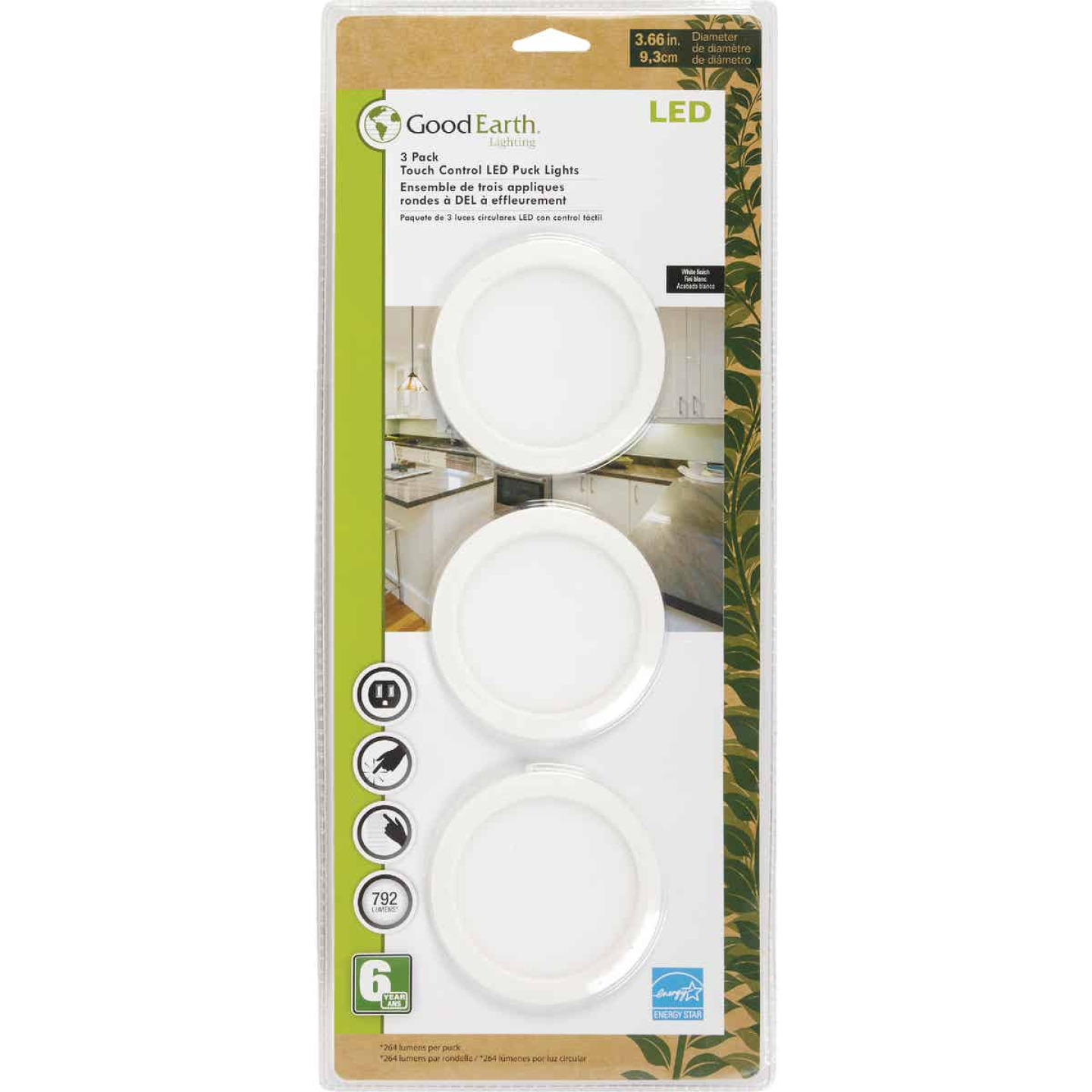 Good Earth Lighting 2.5 In. Plug-In White LED Under Cabinet Light Kit Image 2