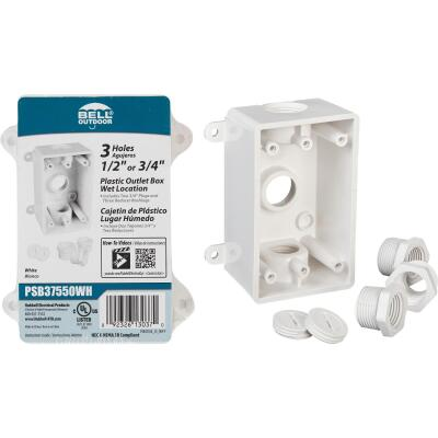 Bell Single Gang 1/2 In.,3/4 In. 3-Outlet White PVC Weatherproof Outdoor Outlet Box