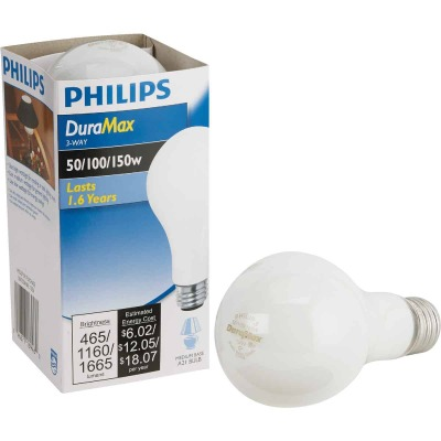 Philips Duramax 50/100/150W Frosted Soft White Medium Base A21 Incandescent 3-Way Light Bulb