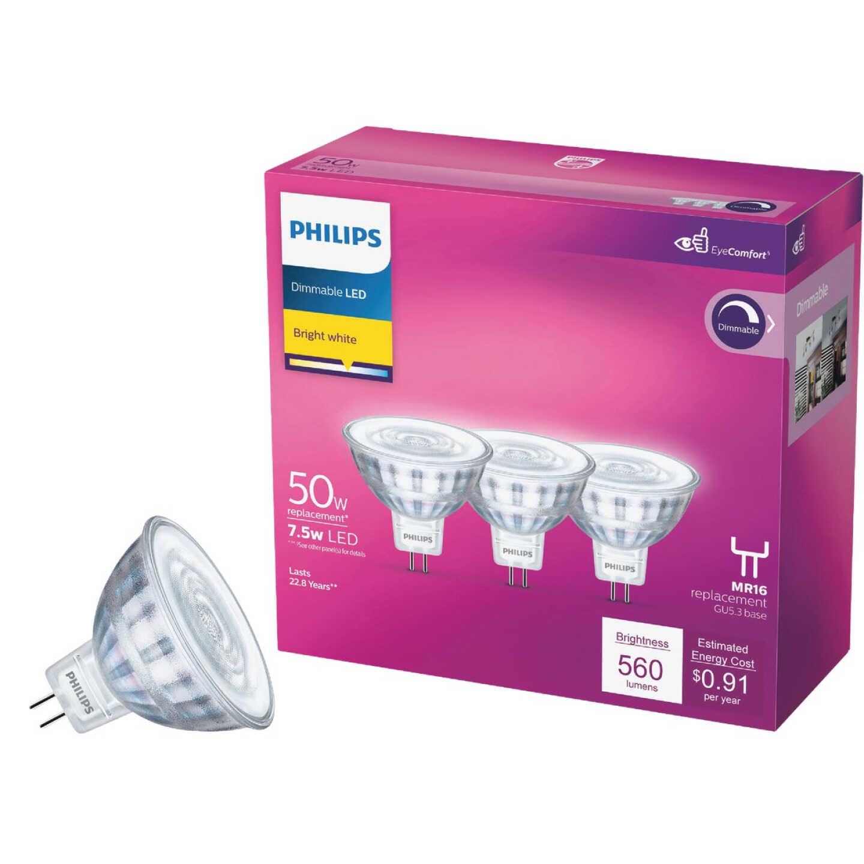Philips Classic Glass 50W Equivalent Bright White MR16 GU5.3 LED Floodlight Light Bulb (3-Pack) Image 1