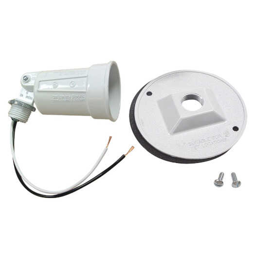 Bell White 150W Die-Cast Metal Round Weatherproof Single Outdoor Lampholder with Cover