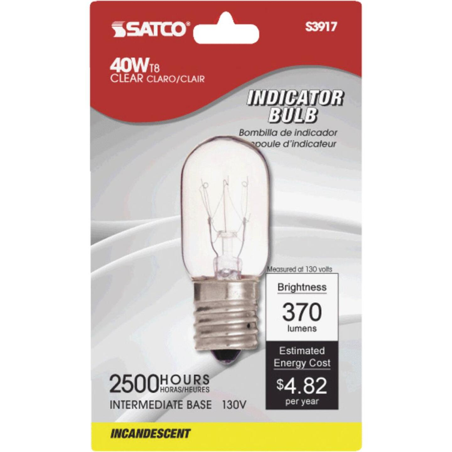 Satco 40W Clear Intermediate Base T8 Incandescent Indicator Appliance Light Bulb Image 1