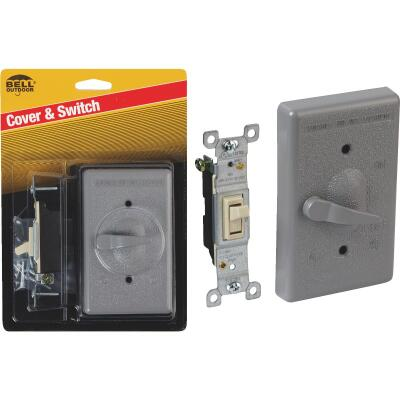 Bell Single Pole Vertical Mount Gray Weatherproof Outdoor Switch Cover