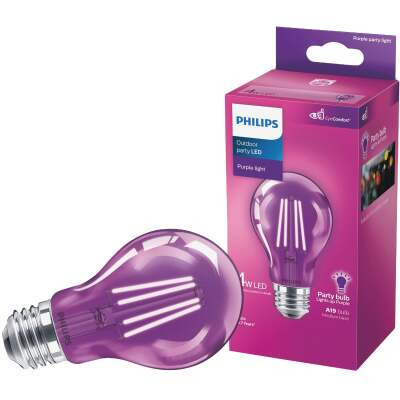 Philips Purple A19 Medium 4W Indoor/Outdoor LED Decorative Party Light Bulb