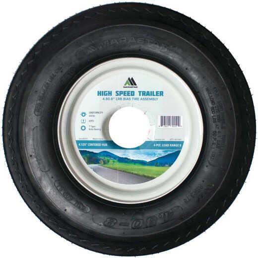 Marastar 4.80-8 In. Load Range B 4.125 In. Centered Hub, 1 In. ID Bushing Trailer Tire and Wheel