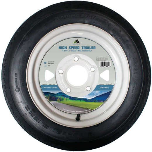 Marastar 4.80-12 In. Load Range C 5-Lug Trailer Tire and Wheel