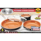 Gotham Steel Gray Non-Stick Aluminum Round Cookware Set (5-Piece) Image 2