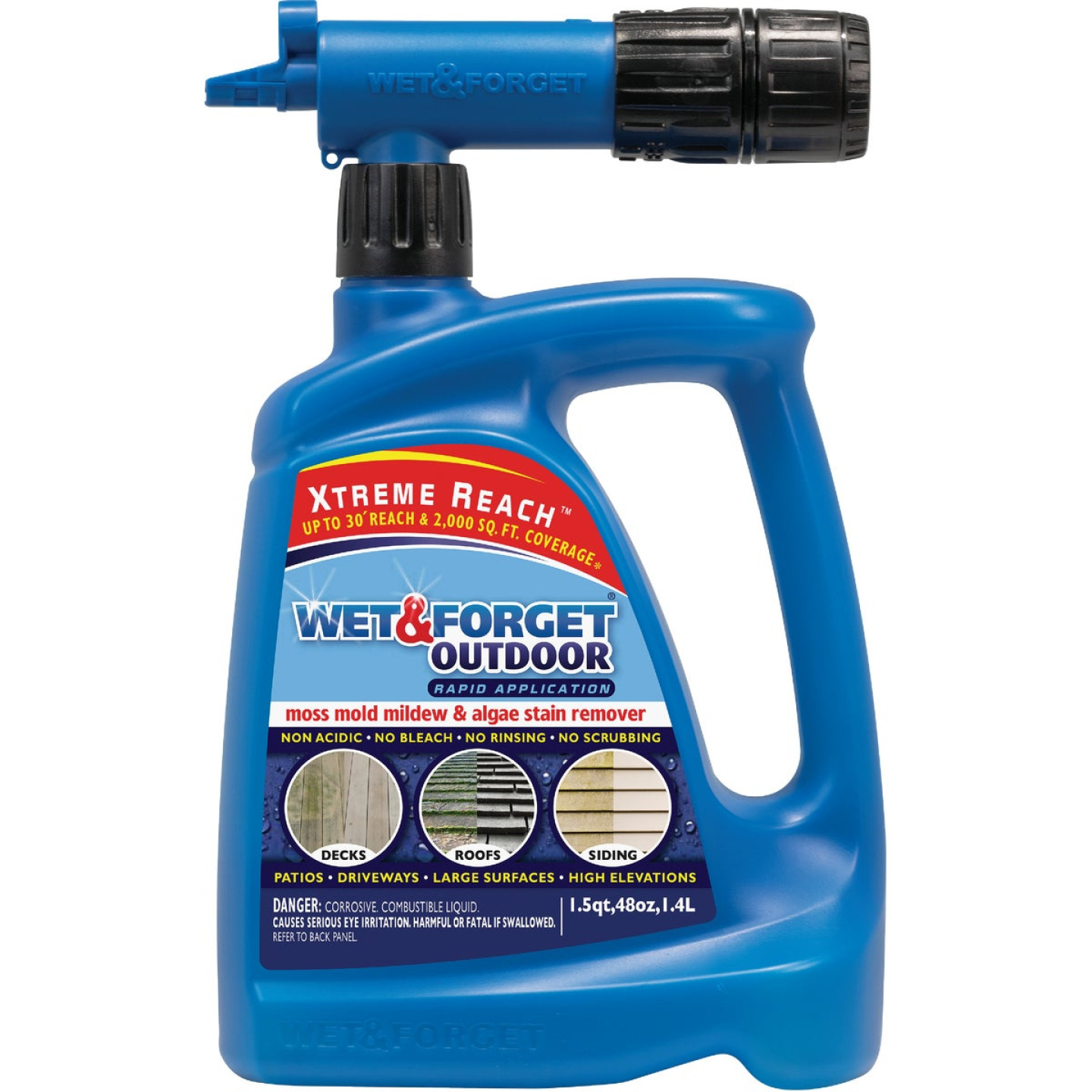 Wet & Forget 48 Oz. Hose End Spray Concentrate Moss, Mildew, Algae, & Mold Stain Remover Image 1