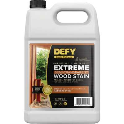 DEFY Extreme Semi-Transparent Exterior Wood Stain, Natural Pine, 1 Gal. Bottle