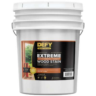 DEFY Extreme Semi-Transparent Exterior Wood Stain, Cedar Tone, 5 Gal.