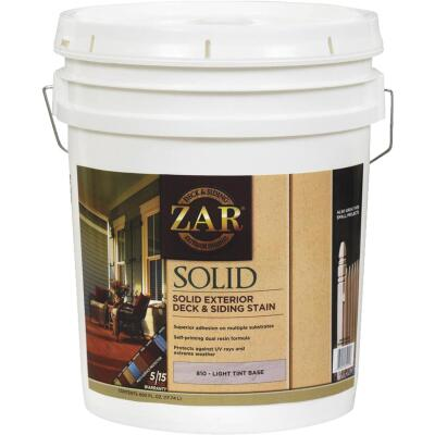 ZAR Solid Deck & Siding Stain, Light Tint Base, 5 Gal.