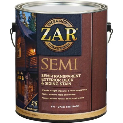 ZAR Semi-Transparent Exterior Deck & Siding Stain, Dark Tint Base, 1 Gal.