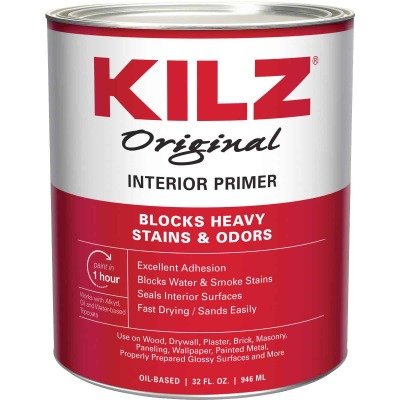Kilz Original Oil-Based Interior Primer Sealer Stainblocker, White, 1 Qt.