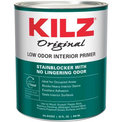 Kilz Odorless Oil-Based Interior Primer Sealer Stainblocker, White, 1 Qt.