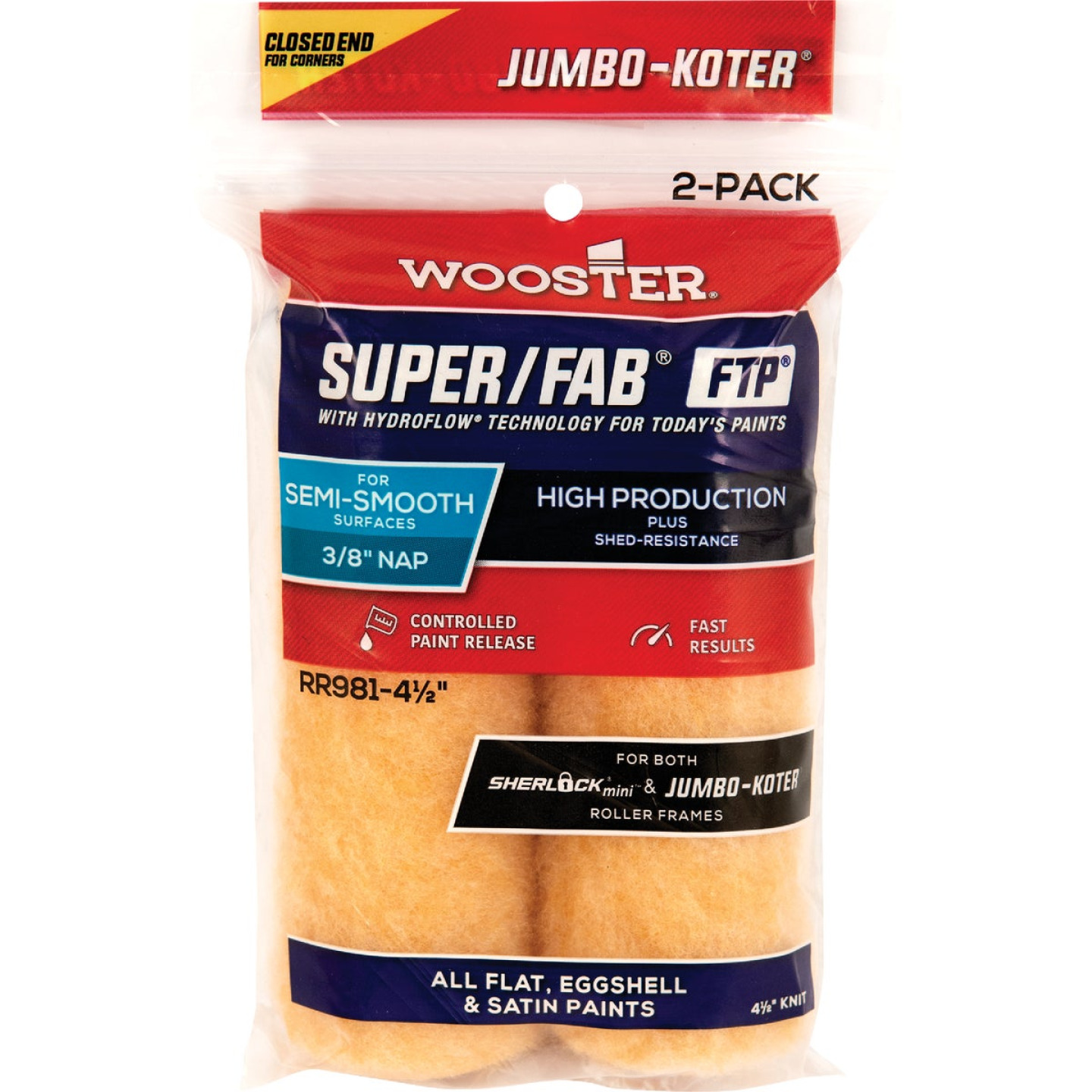 Jumbo-Koter S/F FTP 4-1/2 In. x 3/8 In. Knit Roller Cover (2-Pack) Image 1