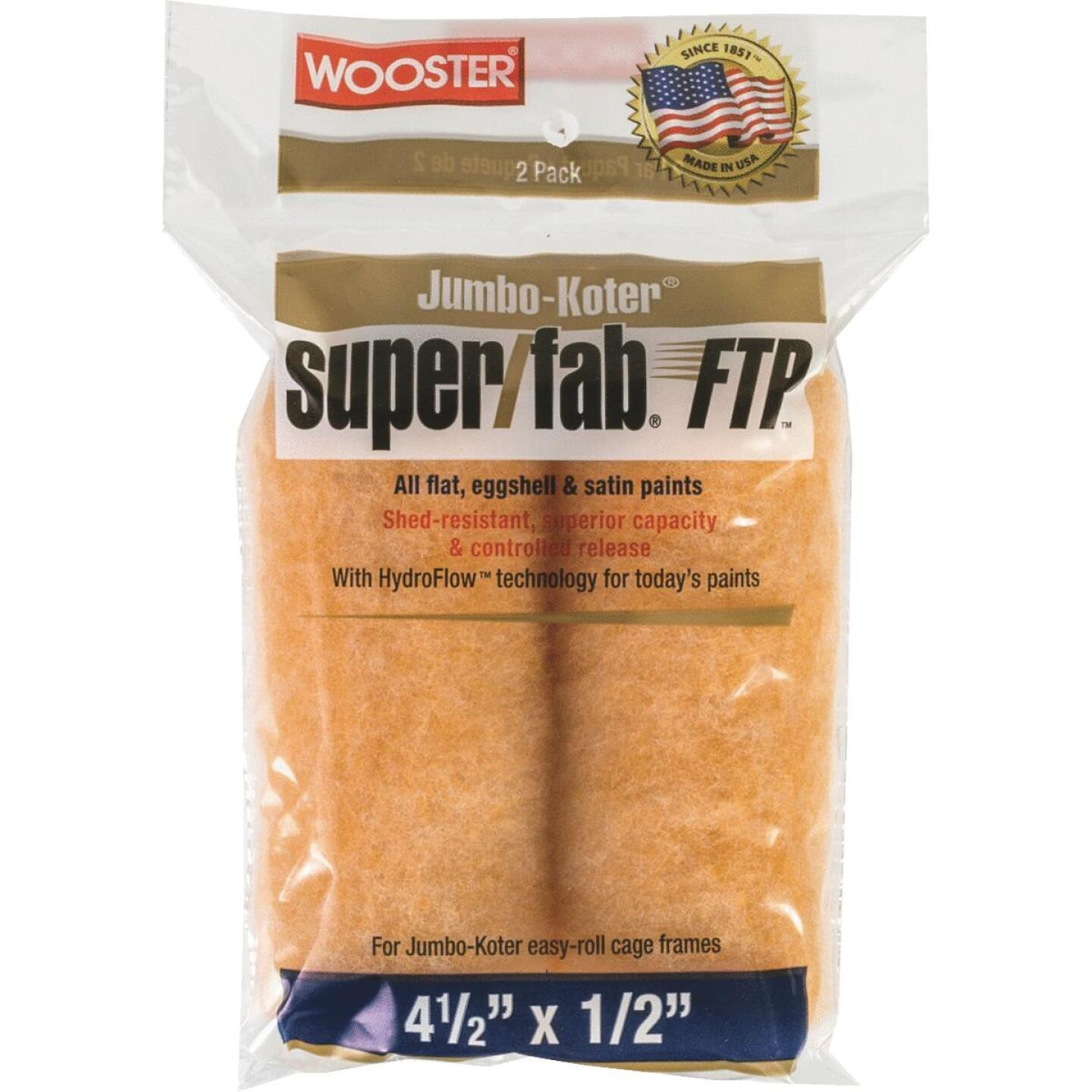 Wooster Jumbo-Koter Super/Fab FTP 4-1/2 In. x 1/2 In. Mini Knit Fabric Roller Cover (2-Pack) Image 1