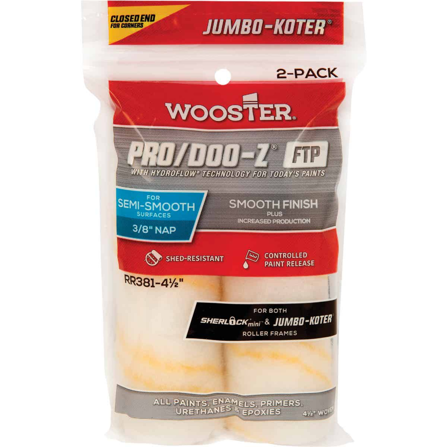 Wooster Jumbo-Koter P/D FTP 4-1/2 In. x 3/8 In. Woven Paint Roller Cover (2 Pack) Image 1