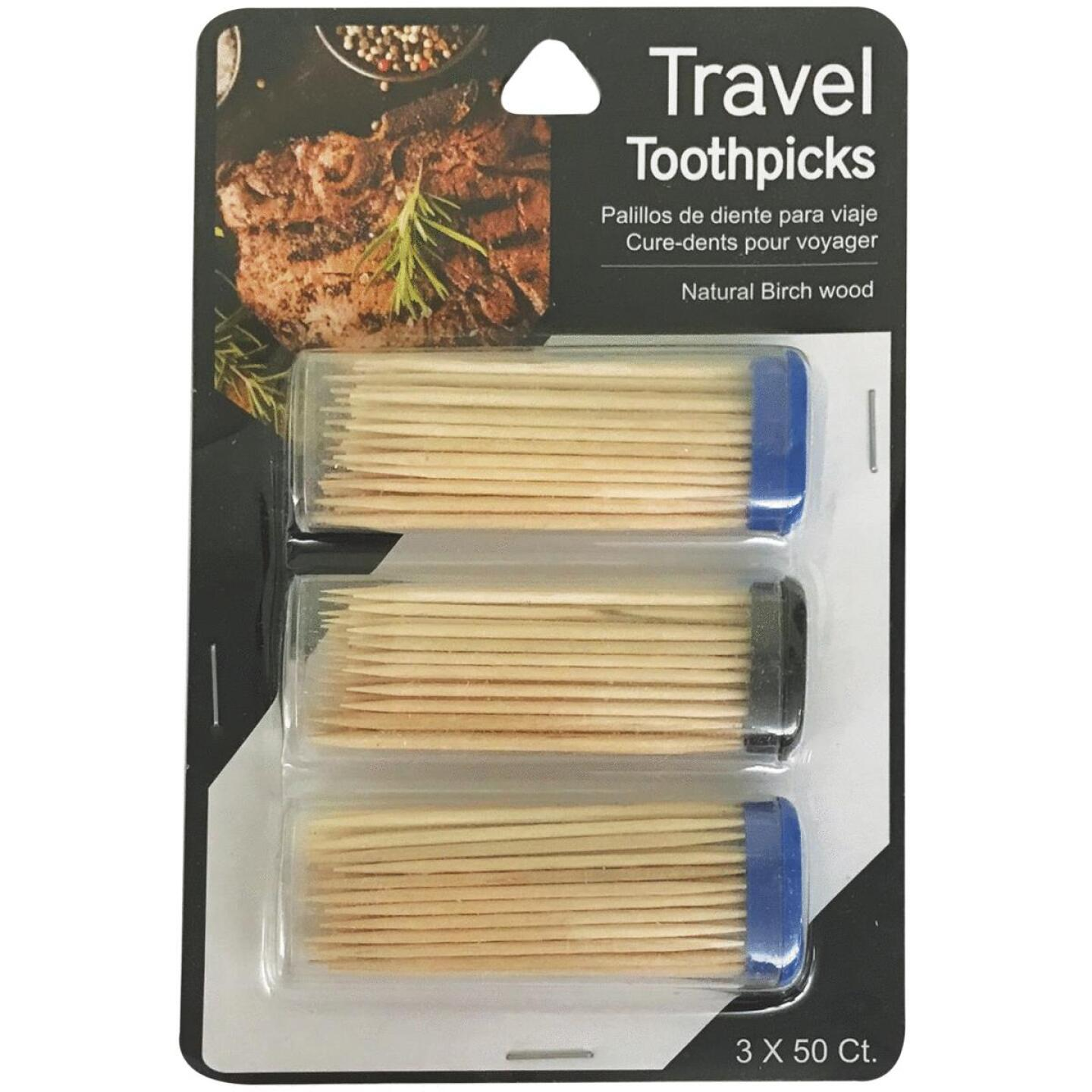 Jacent 50 Per Tube Travel Toothpicks (3-Pack) Image 1